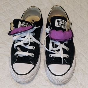 Black and Purple Converse sneakers